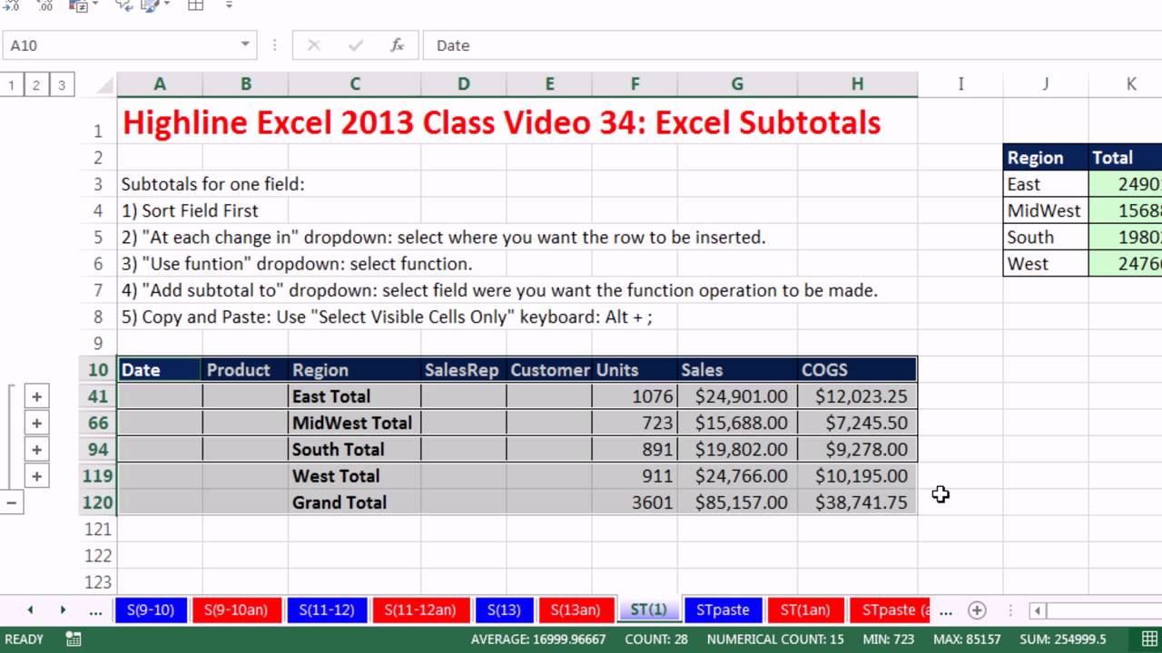 highline excel 2013 class video 34  excel subtotals  add
