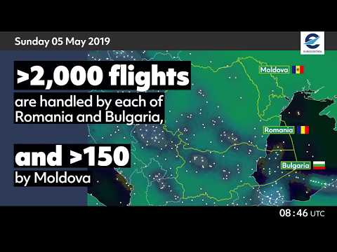 Air traffic situation over Bulgaria, Romania and Moldova - 3 May 2020 vs 5 May 2019