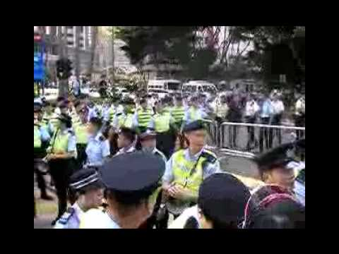 Hong Kong No Human Rights. HK police suppress 2009 July 1 March