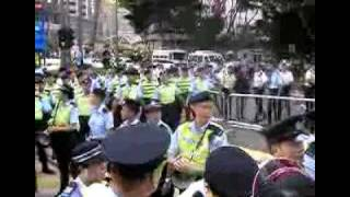 Hong Kong No Human Rights. HK police suppress 2009 July 1 March