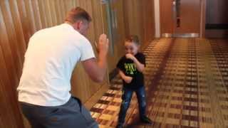 BILLY JOE SAUNDERS SHOWS SON STEVIE HOW TO FIGHT 'GYPSY STYLE'