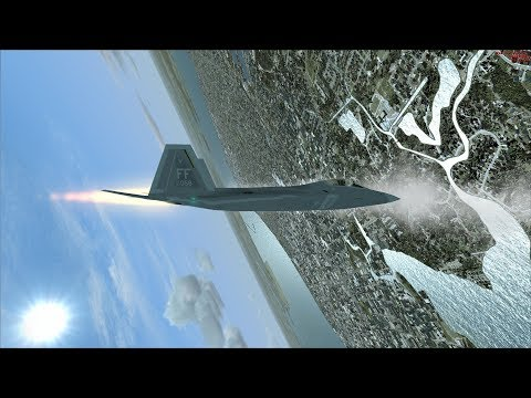 FSX F-22 Extreme Aerobatic Display (Backflips+cobras from Flyby view) [AWESOME GRAPHICS]