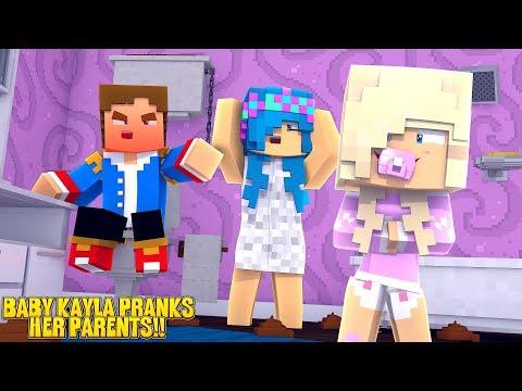 Minecraft PRINCESS BABY KAYLA PRANKS HER PARENTS!!! w/ LITTLE LEAH & LITTLE DONNY