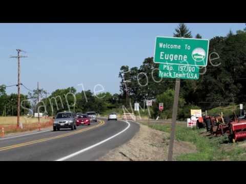 Welcome To Eugene - Street Sign - Sign 1-  Eugene Oregon - Best Shot Footage - HD Stock Footage