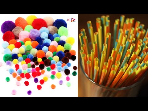 DIY Pom Pom Door Hanging Toran Making | Straw Pipe Craft | উলের সুতা দিয়ে ডোরমেট