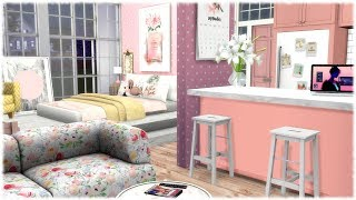 The Sims 4: Speed Build // MICRO GIRLY APARTMENT  // CC LINKS