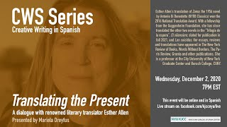 CWS Series | Translating the Present. A dialogue with renowned literary translator Esther Allen