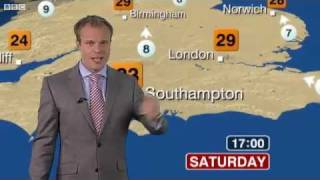 Repeat youtube video BBC Weather: Latest UK Weather Forecast - Saturday 1 October 2011 - Posted at 13:00 - Hot and Sunny