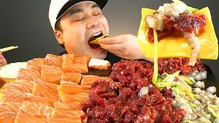 싱싱한 생고기와 연어, 육회 낙지회 먹방~!! 리얼사운…