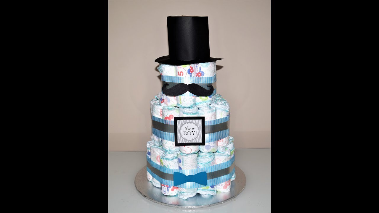 baby shower decorations ideas how to make a little man diaper cake rh youtube com