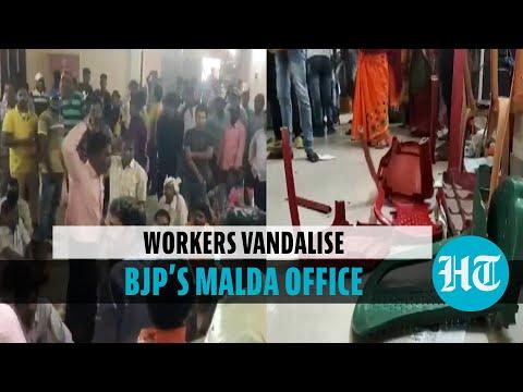 Watch: BJP workers vandalise party office in Malda, demand candidate change