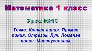 Математика 1 класс (Урок№10 - Точка. Кривая линия. Прямая линия. Отрезок. Луч. Ломаная линия.)