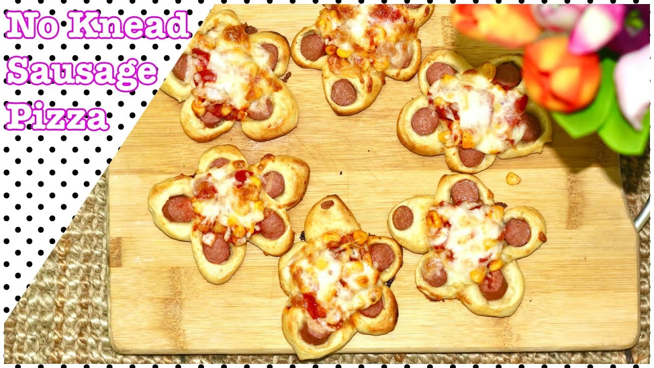 No Knead Sausage Bread Pizza | Sausage Bread Pizza dough recipe