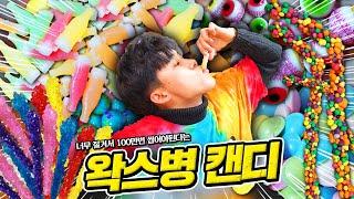 100만번은 씹어야된다는 왁스병 캔디를 먹어보았습니다. 지구젤리 눈알젤리 락캔디 너드 로프젤리 Wax Bottle Candy Earth Jelly Gummy