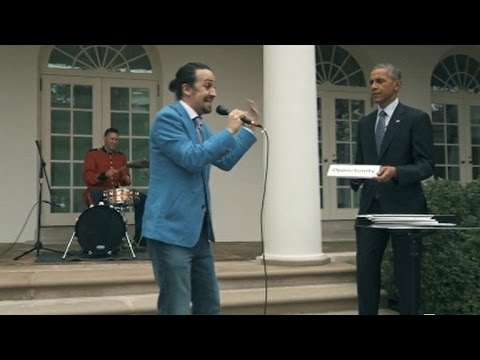Stars of Hamilton freestyle rap with Obama