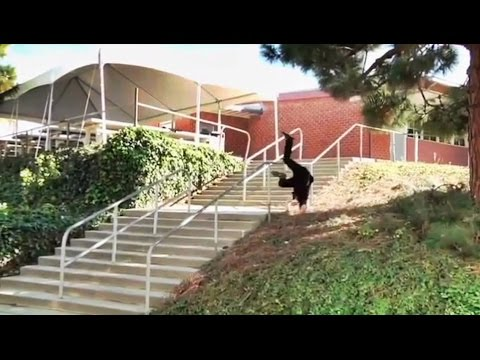 GNARLY  FS 50-50 Huge 11 Flat 11 Double Kink Rail - Behind the Clips! - Olivier Lucero