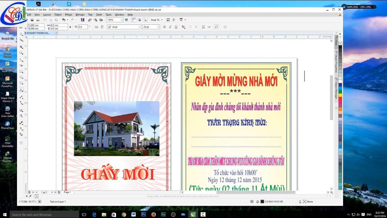 Thiết kế mẫu giấy mời khánh thành nhà mới bằng corel #1