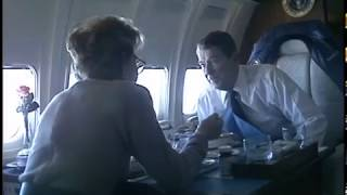 President Reagan and Nancy Reagan on Board Air Force One on December 23, 1988