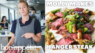 Molly Makes Hanger Steak with Charred Scallion Sauce | From the Test Kitchen | Bon Appétit