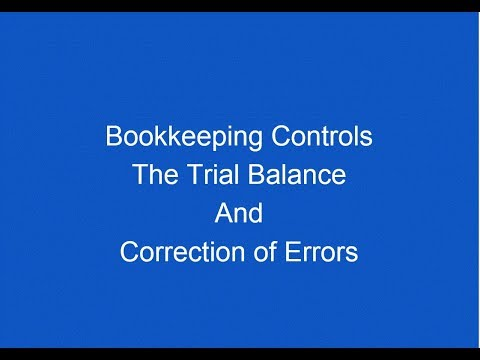 Chapter 6 Trial Balance And Correction Of Errors Bookkeeping Controls AAT Level 2