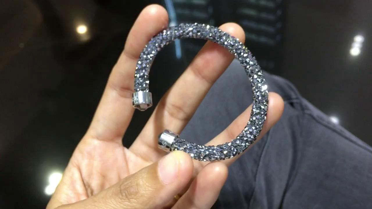 Bracelets - Swarovski - Crystaldust Cuff Gray - YouTube
