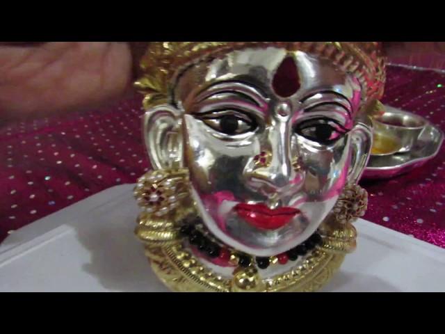 ???? ???????????? ??????? ?????? How to do Lakshmi Face Makeup /Varamahalakshmi  Decoration Part -2