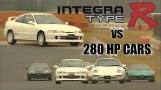 [ENG CC] Integra Type R vs. 280HP JDM Sports cars - NSX, GT-R, RX-7, Supra in Tsukuba 1996
