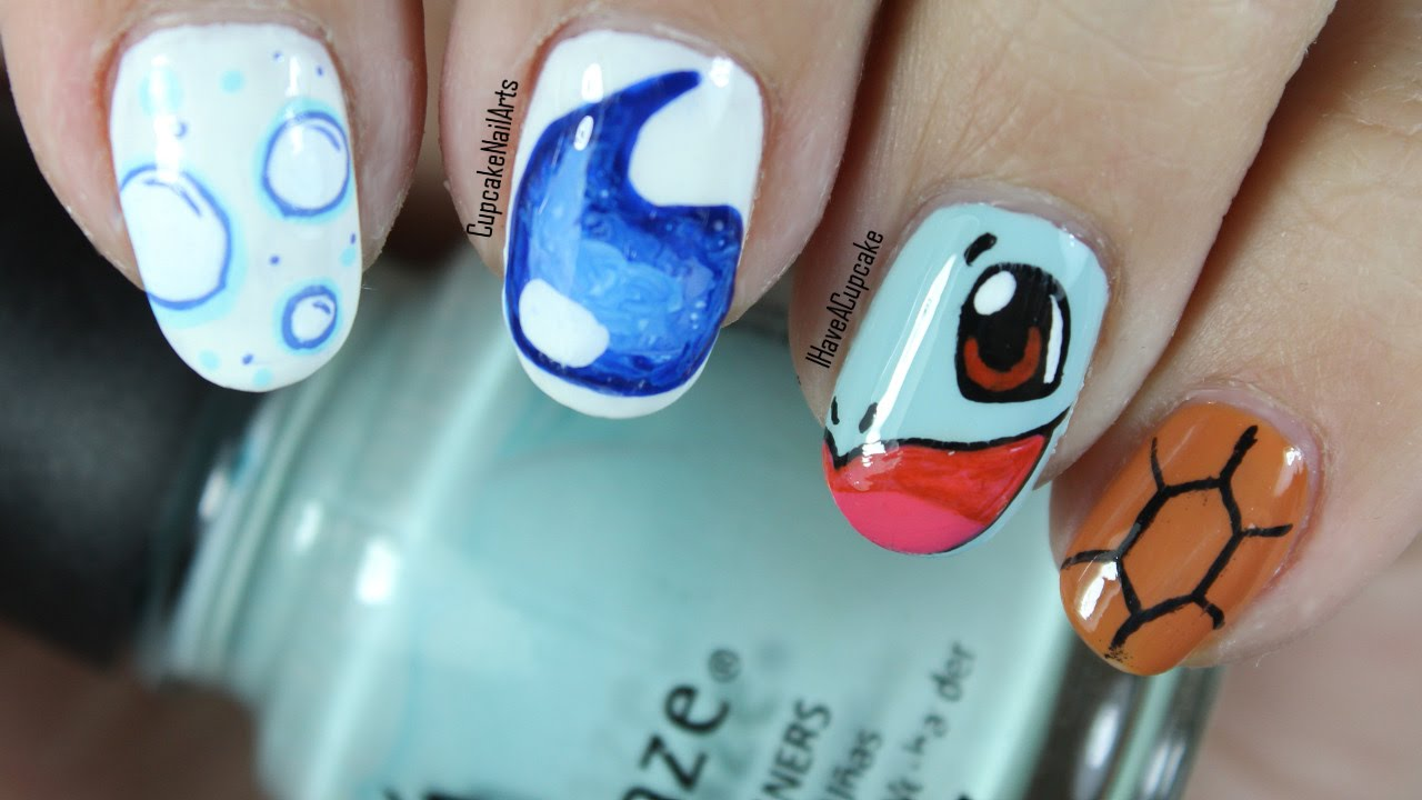 Pokemon Nail Art *Squirtle* - Pokemon Nail Art *Squirtle* - YouTube