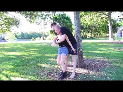 Small girl piggyback her boyfriend