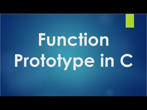 C Programming - 30 - Function prototype