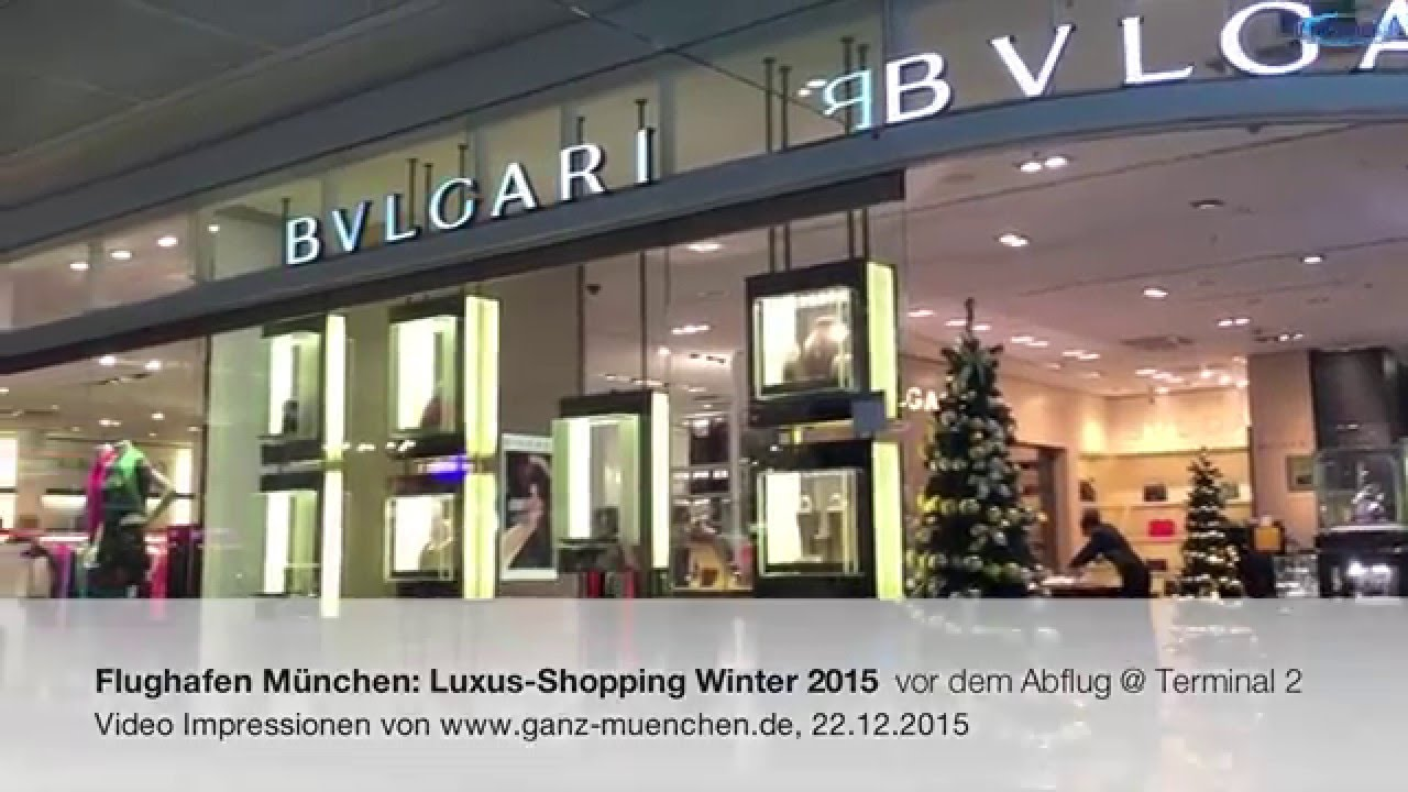 flughafen m nchen luxus shopping winter 2015 vor dem abflug terminal 2 youtube. Black Bedroom Furniture Sets. Home Design Ideas