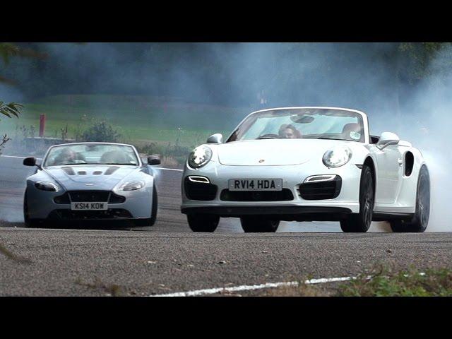 Drop Top Duel Porsche 911 Turbo S Versus Aston Martin V12 Vantage S Youtube