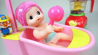 Baby doll bath and color juice maker with Pororo toys