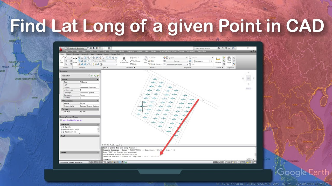 Find Lat Long Of A Given Point In CAD YouTube - Lat long altitude