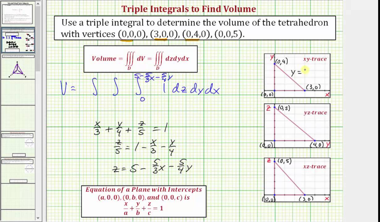 Triple Integrals: Find The Volume Of A Tetrahedron Given The Vertices