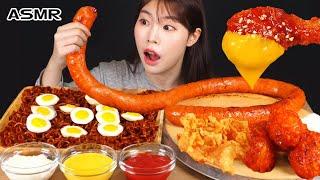 ASMR MUKBANG| 직접 만든 짜짜로니 & 양념치킨 소세지 먹방 & 레시피 FRIED CHICKEN AND SAUSAGE EATING