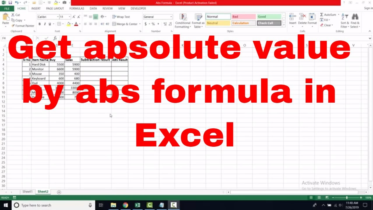 Use Abs formula or function and get absolute value in Excel   Bangla  tutorial   BDNL RAKIB