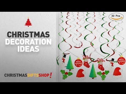Top Hanging Christmas Decorations: Christmas Hanging Swirl Decoration ( leaves, Christmas stockings,