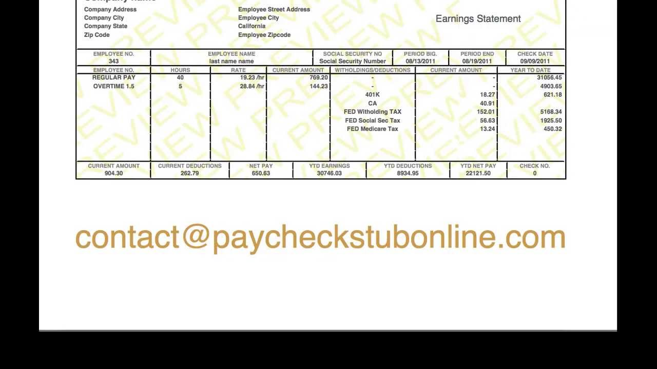 Paycheck Template Free free pay stub template goodshows employee – Free Paycheck Stub Template Word