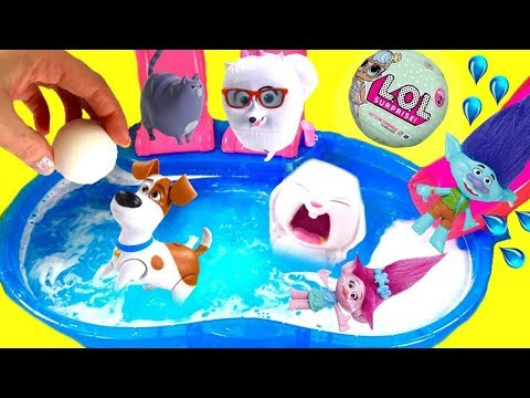 Trolls Movie Poppy Branch & The Secret Life of Pets Dive for Fizzy Bath Bomb Pool Toy Surprises