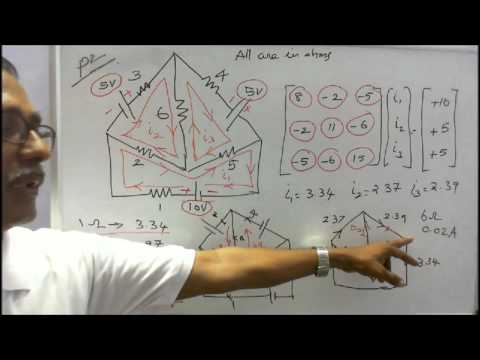BASICS OF ELECTRICAL ENGINEERING - PART - 18 - WORKED EXAMPLES WITH MULTIPLE VOLTAGE SOURCES