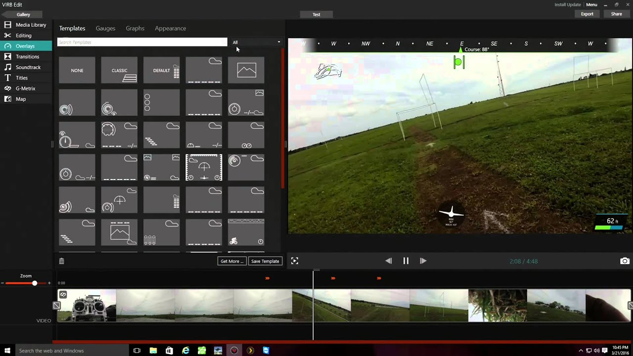 Garmin virb xe drone camera video overlay options youtube for Virb templates