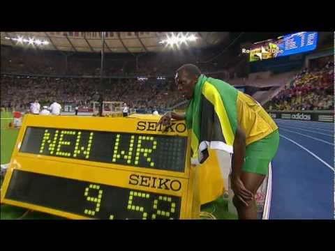 100M Berlino 2009 Usain Bolt 9.58 WR ITA Rai Due
