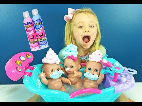 Lil Cutesies Babies Mr Bubble Foam Soap Bath & Ba Dolls Bathtub Toy Fun Triplets W Play Doh Girl