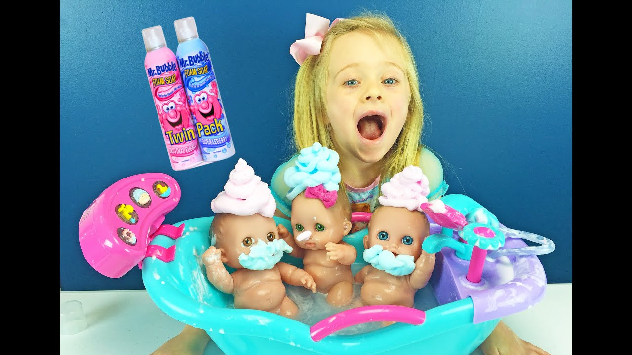 Lil Cutesies Babies Mr Bubble Foam Soap Bath & Baby Dolls Bathtub ...