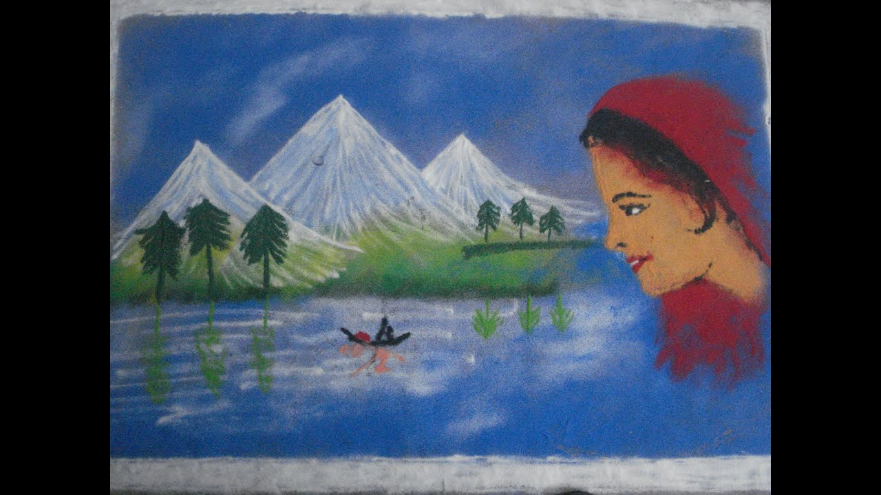 Poster design rangoli - How To Draw Rangoli Designs With Scenery Poster Rangoli By Using Colors With Girl Face Youtube