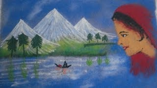 how to draw rangoli designs with scenery,poster rangoli by uing colors with girl face