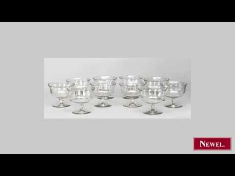Antique Set of 10 American Victorian crystal dessert bowls