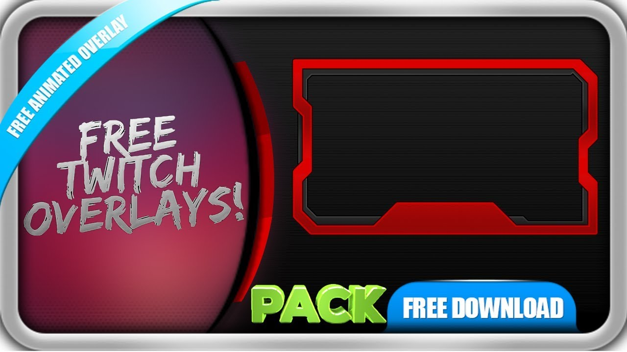 Free Twitch Overlay Template Animated Webcam Animated Red Line Pack