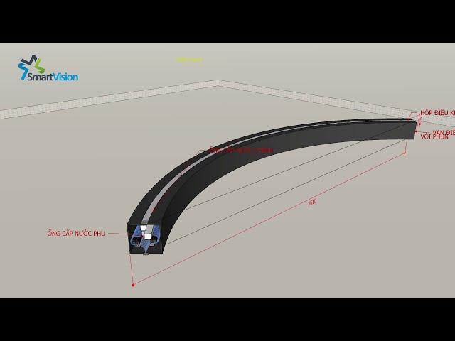 Thiết kế màn nước nghệ thuật hình vòng cung dài 8m